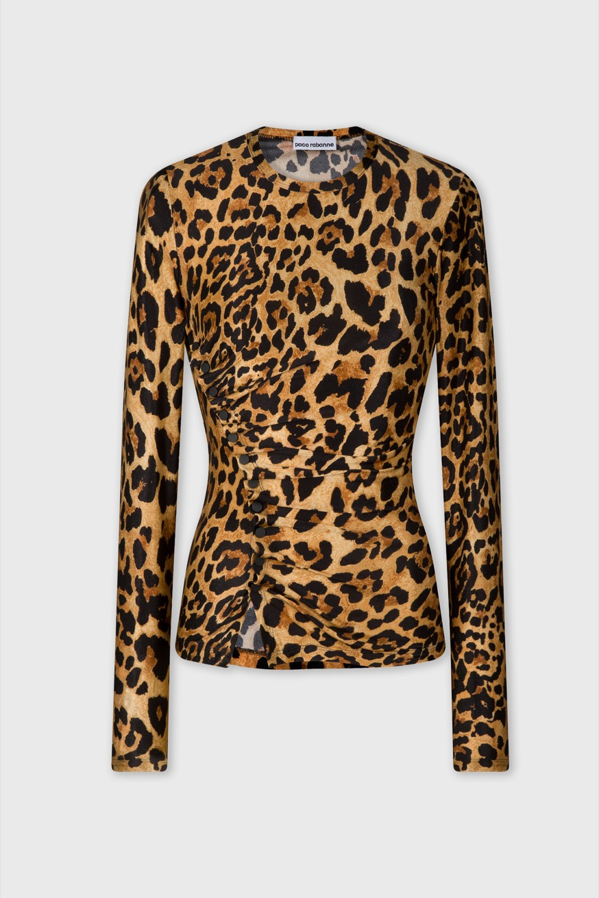 Long sleeved draped top in printed jersey. - Long sleeved draped top in printed jersey. - Paco Rabanne