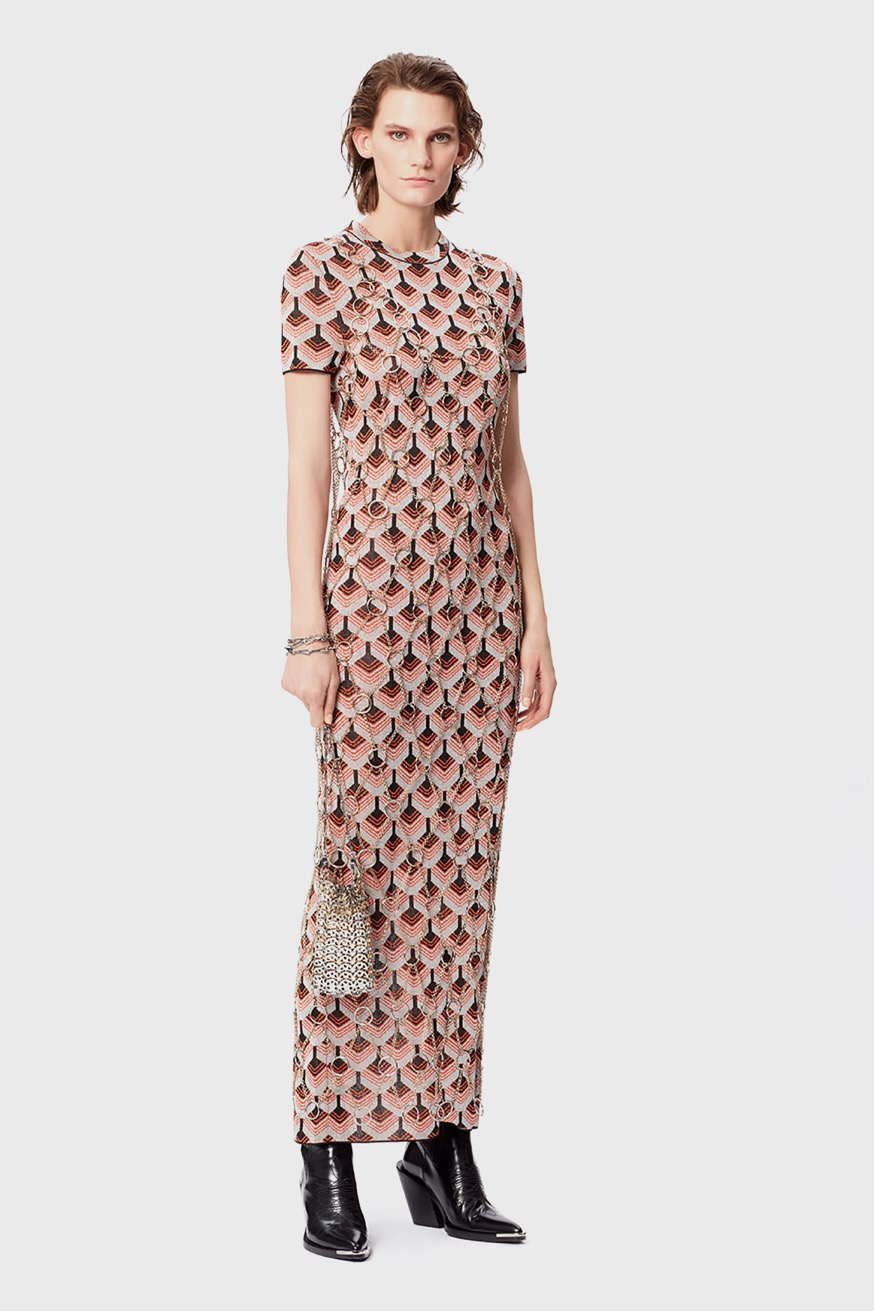Long, gold maxi dress made with metal rings and chain - Long, gold maxi dress made with metal rings and chain - Paco Rabanne