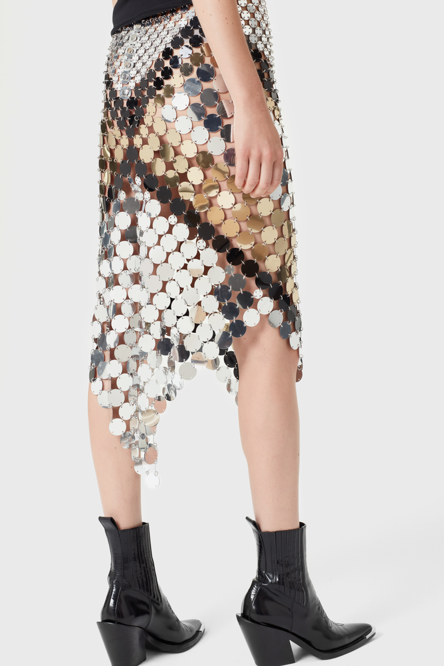 Mid-length skirt with colour block assemblage - Mid-length skirt with colour block assemblage - Paco Rabanne
