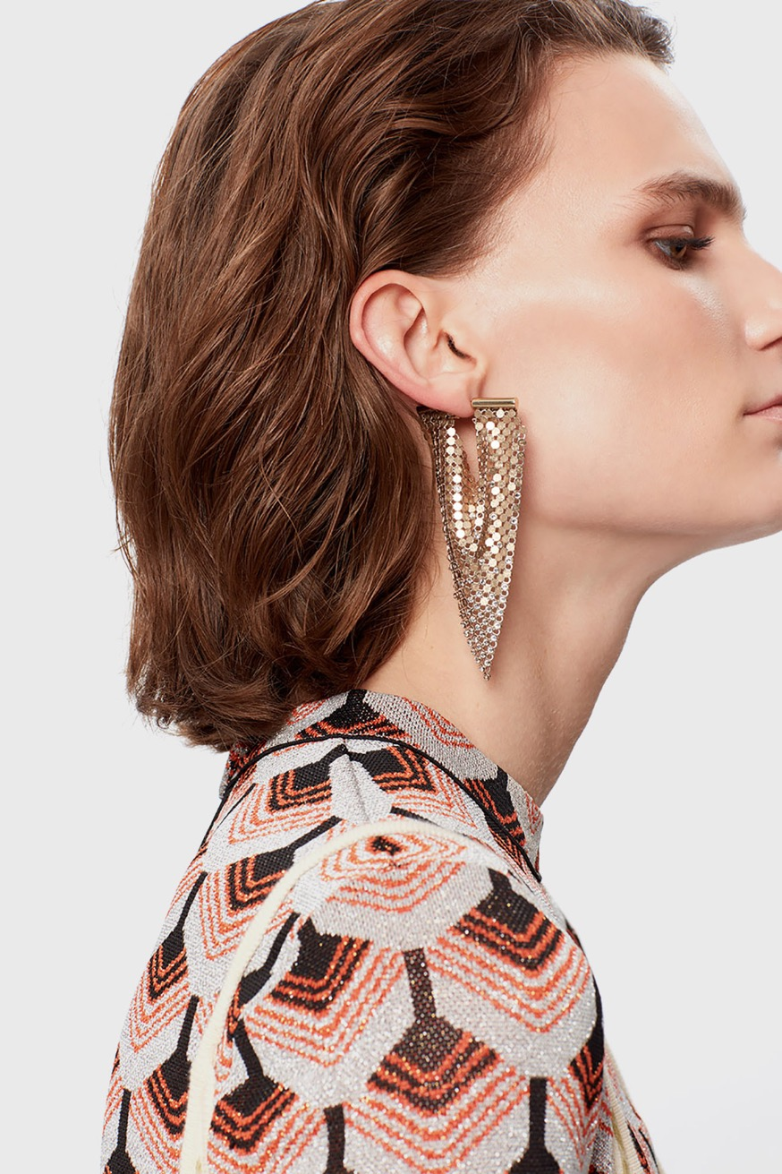 Flexible triangle earrings in gold mesh with rhinestones. - Flexible triangle earrings in gold mesh with rhinestones. - Paco Rabanne