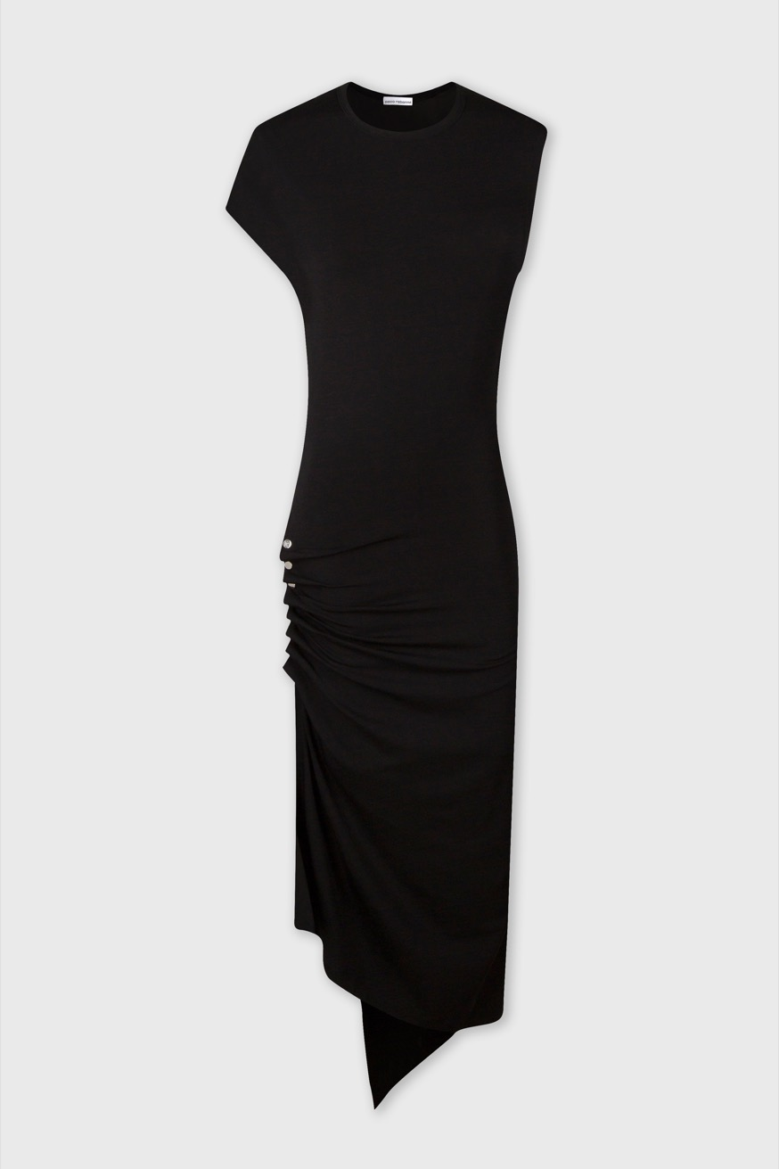 Black, draped jersey dress - Black, draped jersey dress - Paco Rabanne