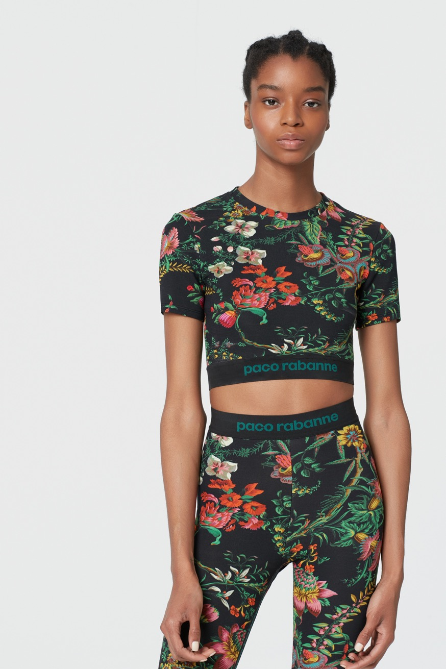 Bodyline crop top in fine jersey - Bodyline crop top in fine jersey - Paco Rabanne