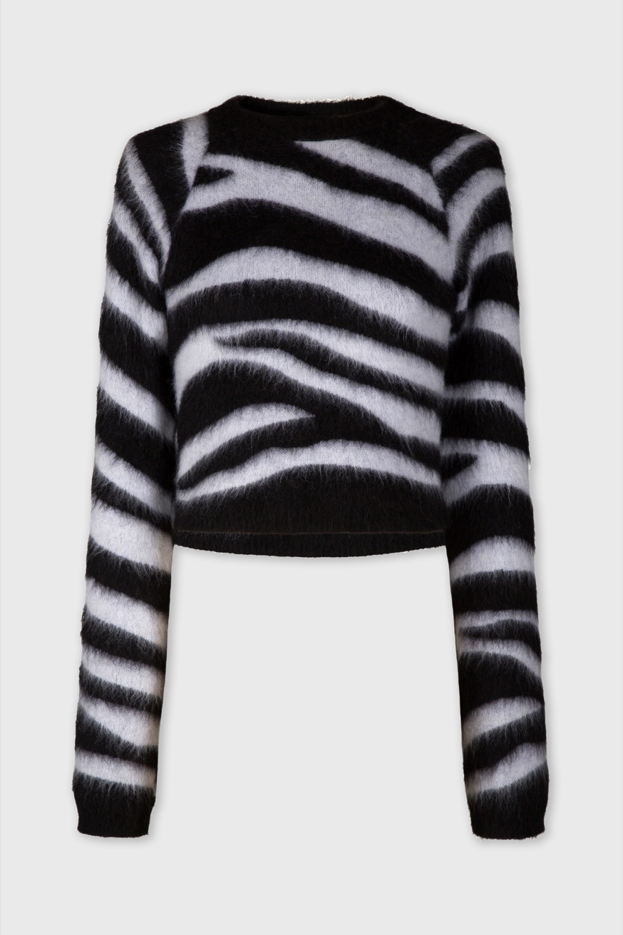 Round neck sweater in zebra jacquard - Round neck sweater in zebra jacquard - Paco Rabanne