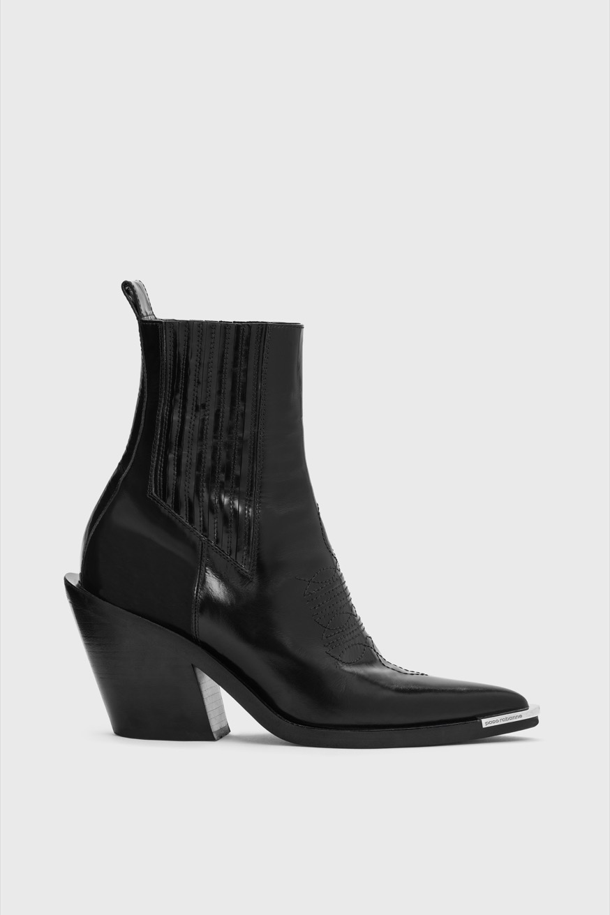 Leather Chelsea boots with 4 inch heels. - Leather Chelsea boots with 4 inch heels. - Paco Rabanne