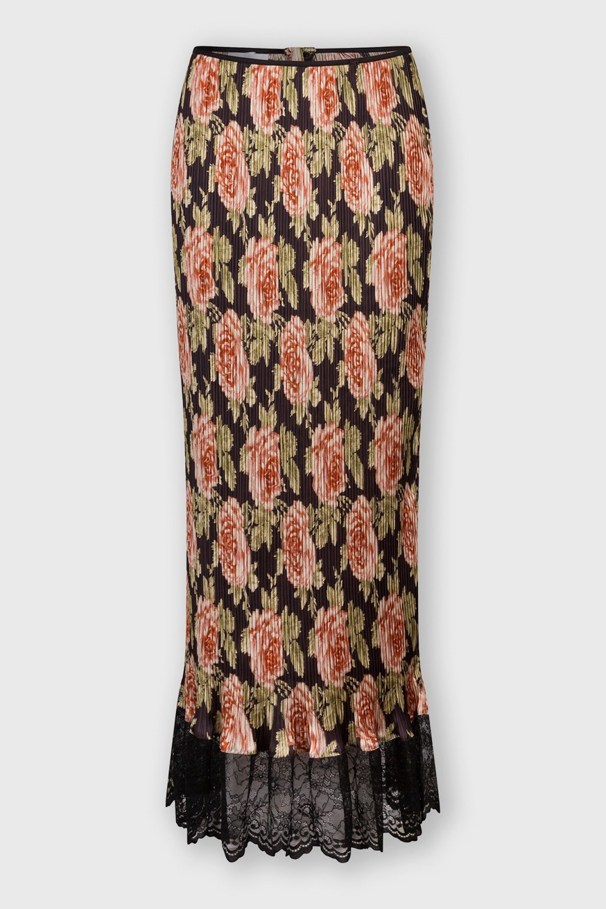 Pleated maxi skirt decorated with rose bouquet prints - Pleated maxi skirt decorated with rose bouquet prints - Paco Rabanne