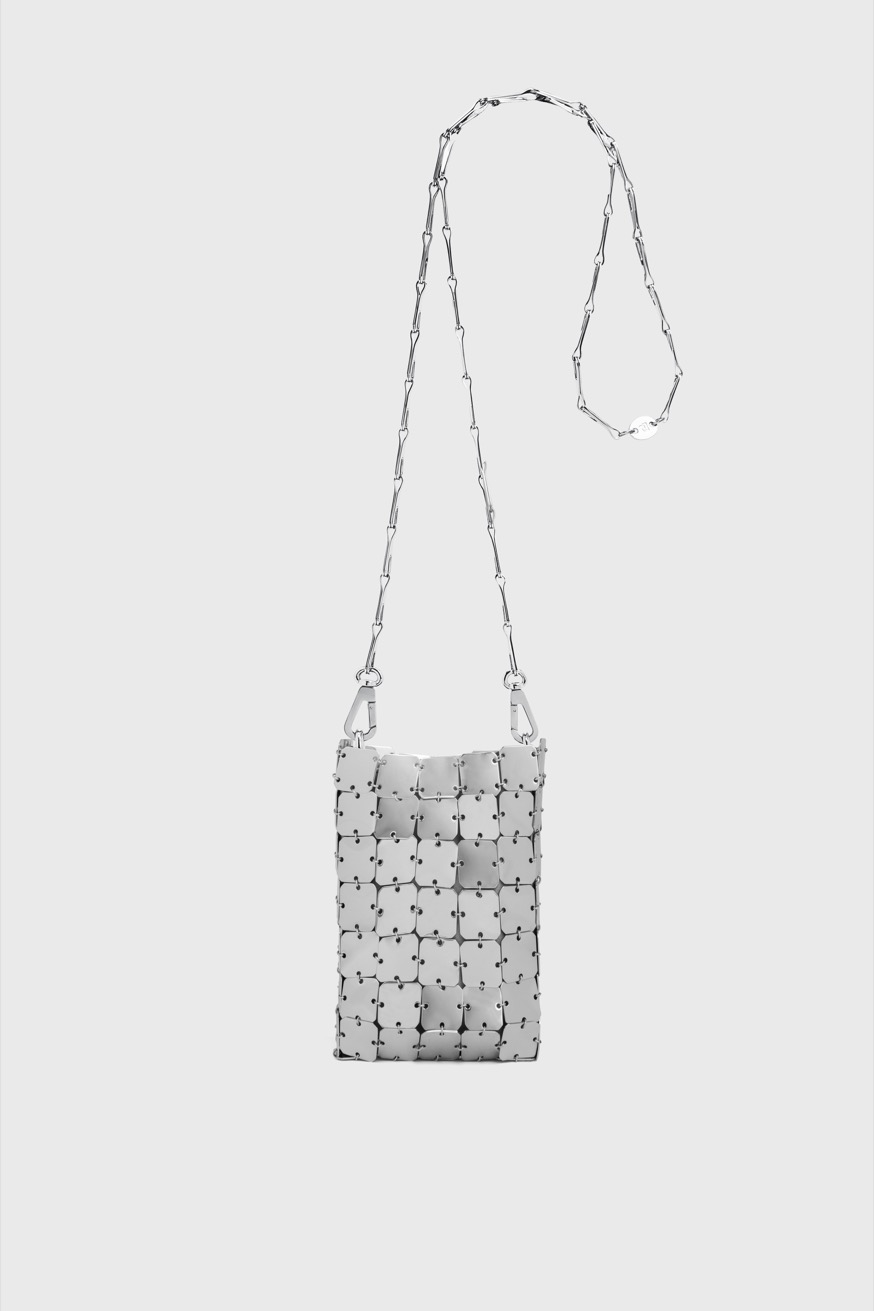 Iconic 1969 Mini Bag Square: Silver, square assembly - Iconic 1969 Mini Bag Square: Silver, square assembly - Paco Rabanne