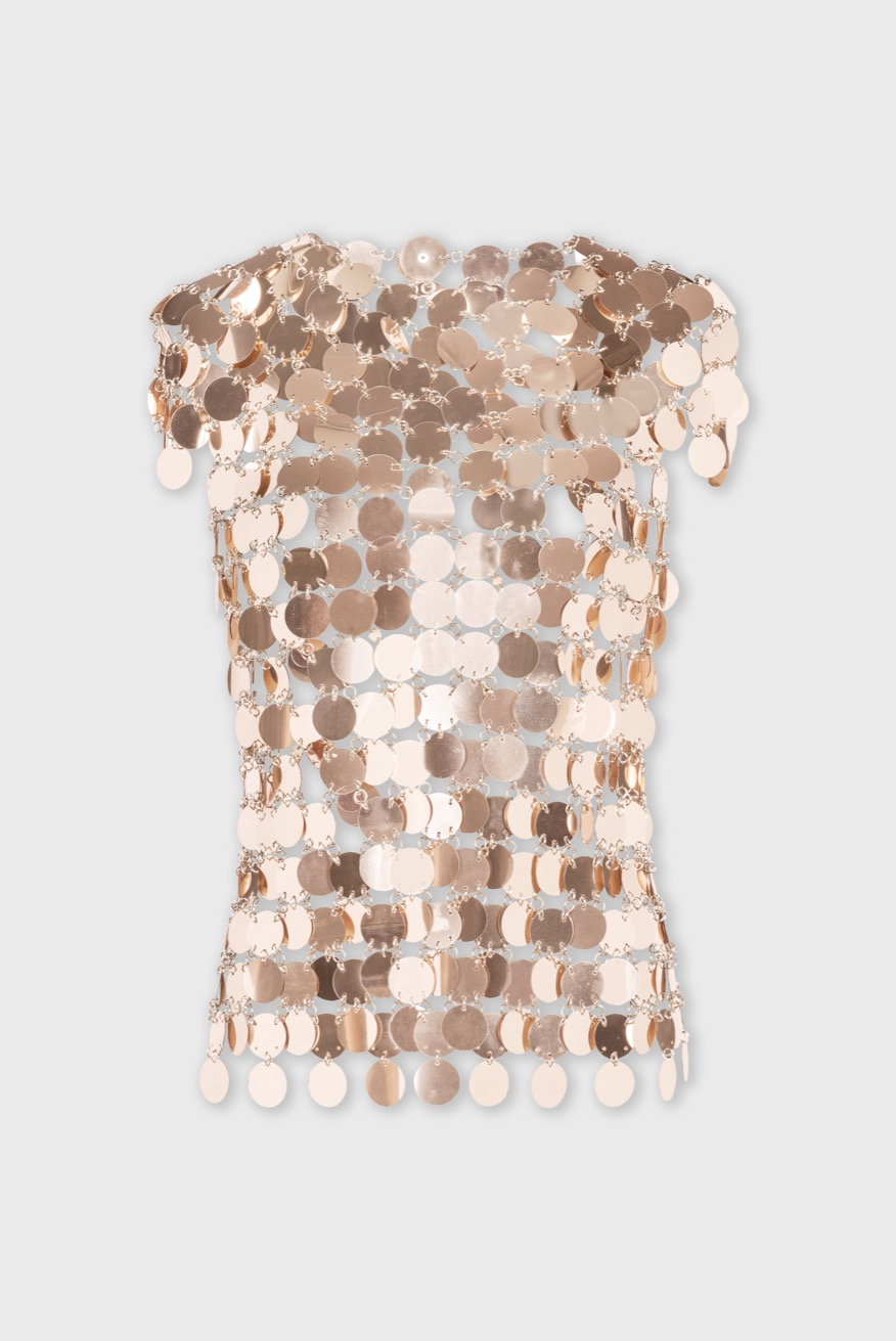 Sleeveless top with mirror-effect discs - Sleeveless top with mirror-effect discs - Paco Rabanne