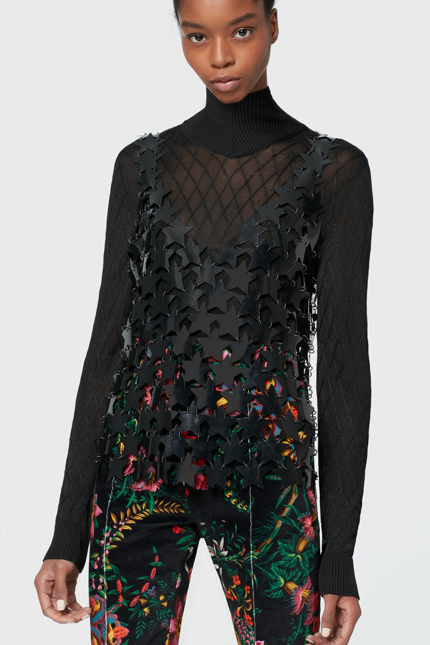 Black tank top constructed with star-shaped pieces. - Black tank top constructed with star-shaped pieces. - Paco Rabanne