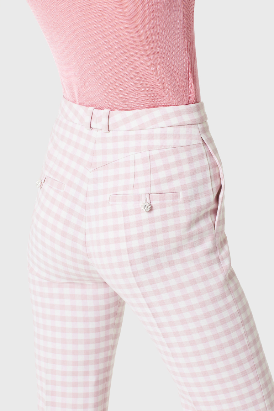 High-waisted trouser in pink Vichy check - High-waisted trouser in pink Vichy check - Paco Rabanne