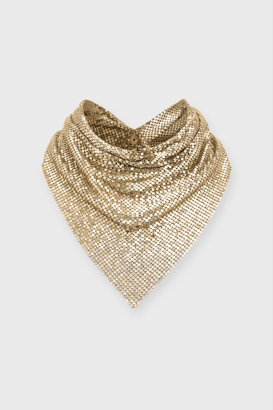 Gold mesh scarf decorated with crystals - Gold mesh scarf decorated with crystals - Paco Rabanne