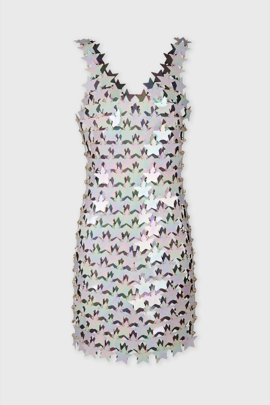 Short evening dress made of star-shaped parts assembly - Short evening dress made of star-shaped parts assembly - Paco Rabanne