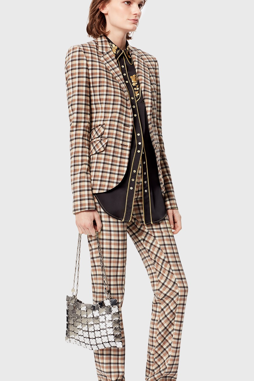 Fitted tailored jacket in tartan wool - Fitted tailored jacket in tartan wool - Paco Rabanne