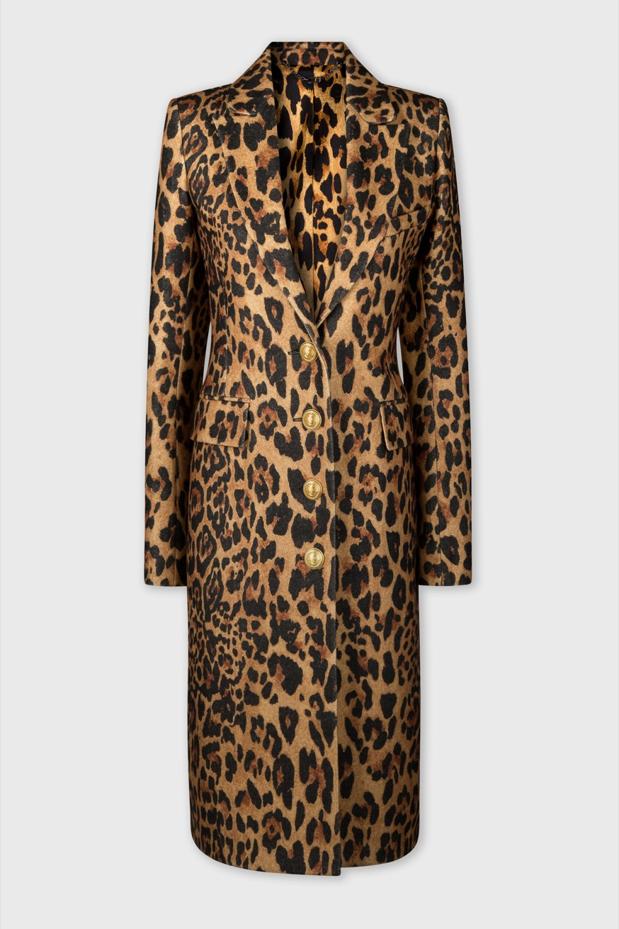 Tailored coat in leopard printed wool - Tailored coat in leopard printed wool - Paco Rabanne