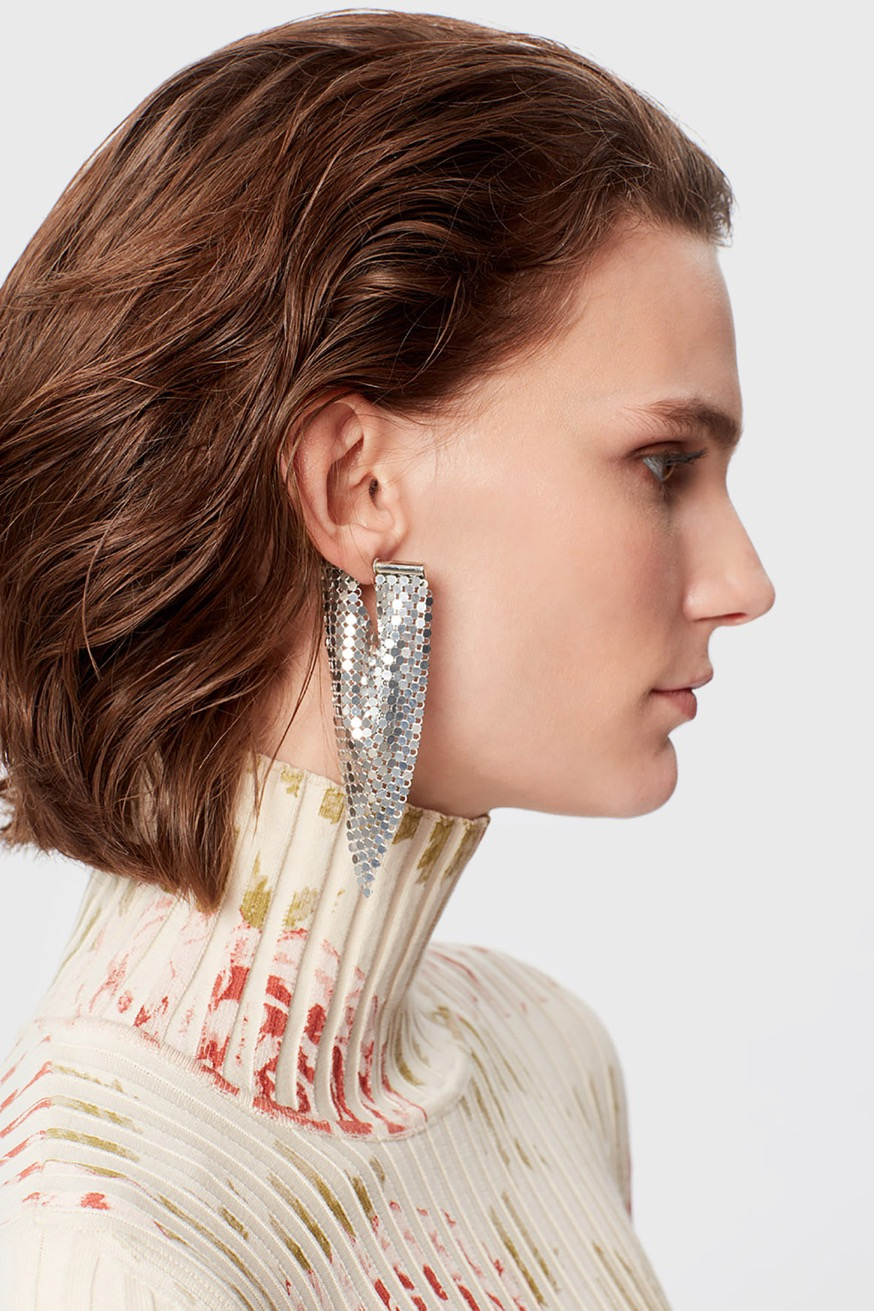 Pliable and soft gold mesh drop earring with rhinestones - Soft silver mesh earring - Paco Rabanne