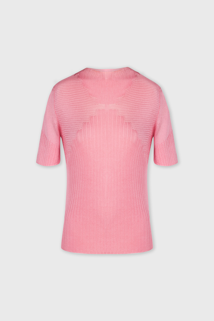 Pull fin col roulé manches courtes rose - Pink turtleneck short-sleeved sweater - Paco Rabanne