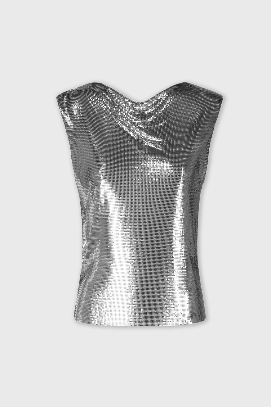 Top in a mini mesh - Top in a silver mini mesh - Paco Rabanne