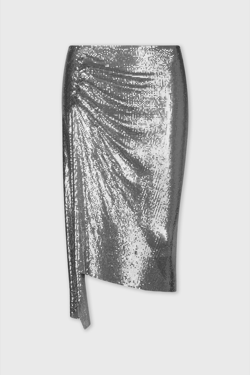 Draped skirt in mesh - Draped skirt in silver mesh - Paco Rabanne