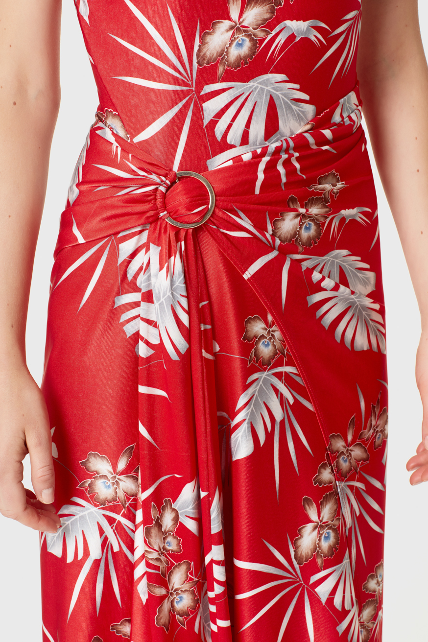 Mid-length red printed jersey dress - Mid-length red printed jersey dress - Paco Rabanne