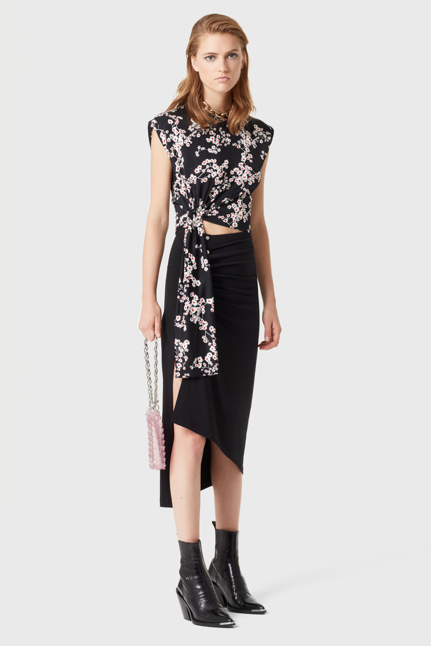 Short sleeveless printed top in jersey cotton - Short sleeveless printed top in jersey cotton - Paco Rabanne