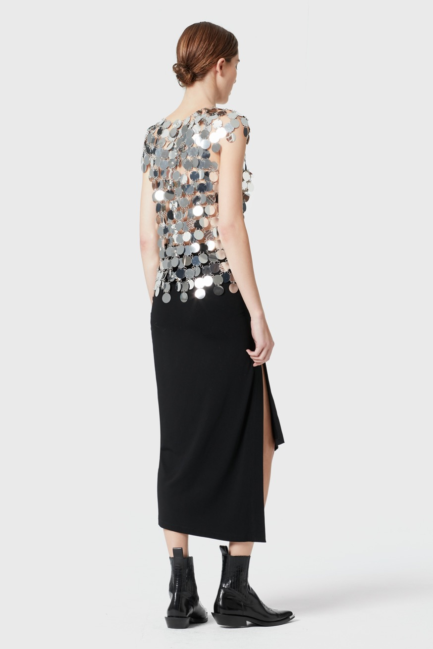 Sleeveless silver tank top made with round discs, creating a mirror effect - Sleeveless silver tank top made with round discs, creating a mirror effect - Paco Rabanne