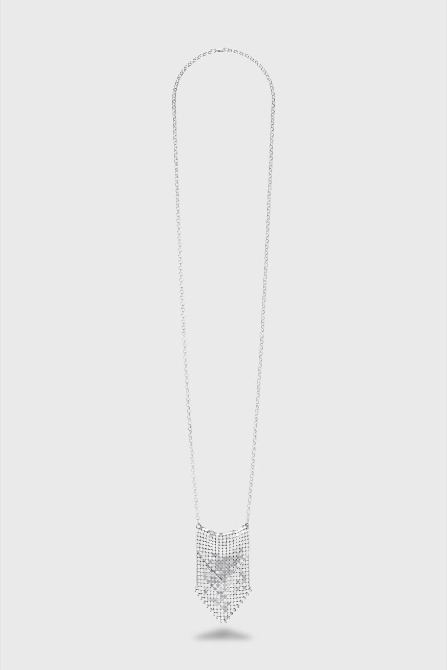 Silver plated metal necklace - Silver plated metal necklace - Paco Rabanne