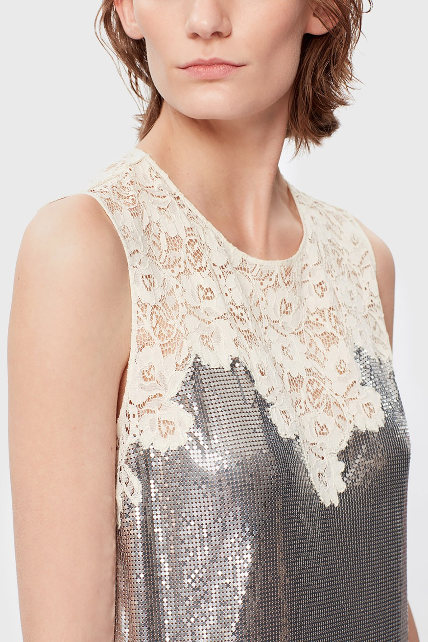 Sleeveless mid-length mesh dress with lace inlays - Sleeveless mid-length mesh dress with lace inlays - Paco Rabanne