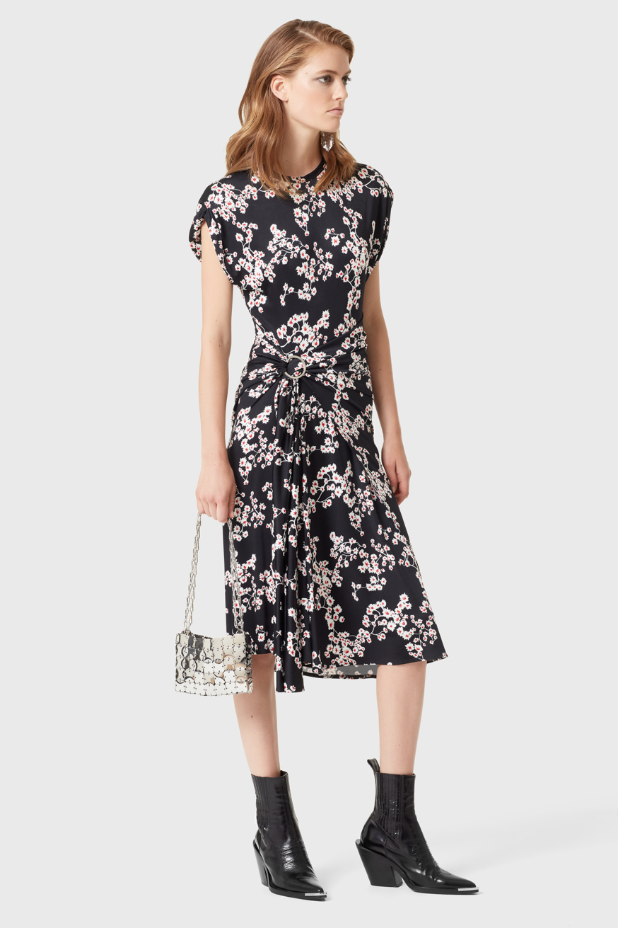 Black mid-length dress in printed jersey - Black mid-length dress in printed jersey - Paco Rabanne