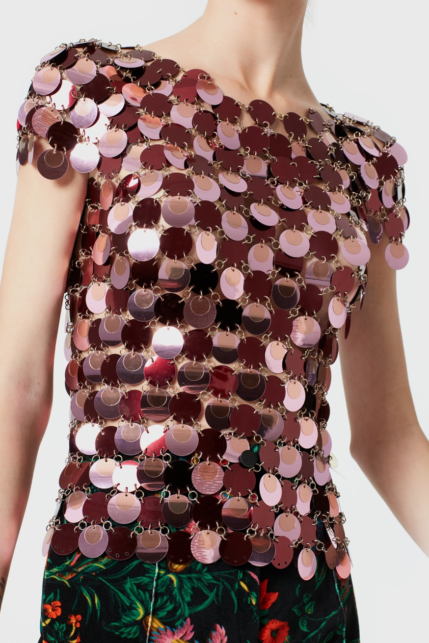 Sleeveless top made of round pink pastilles - Sleeveless top made of round pink pastilles - Paco Rabanne