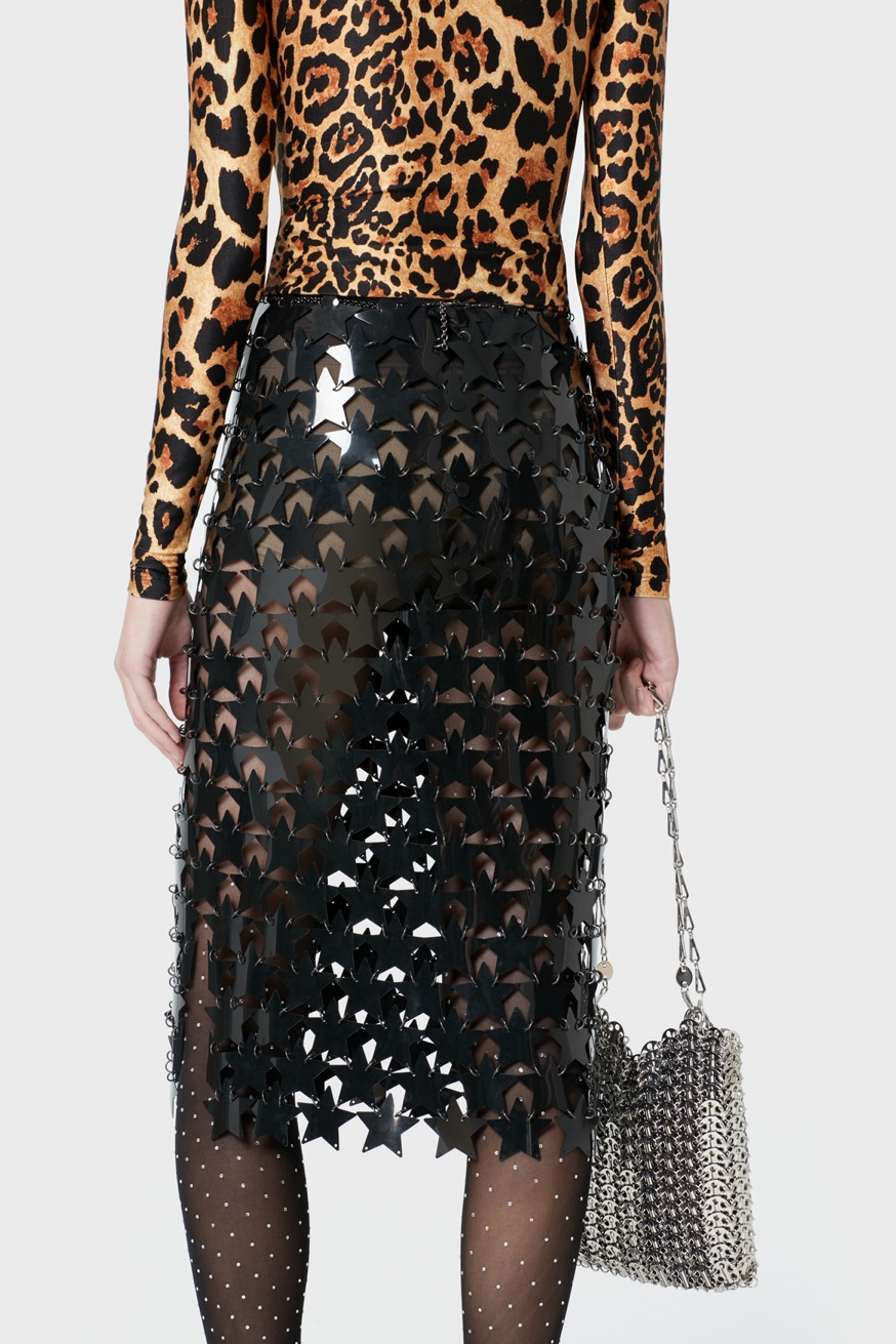 Mid-length skirt made from star-shaped pieces. - Mid-length skirt made from star-shaped pieces. - Paco Rabanne