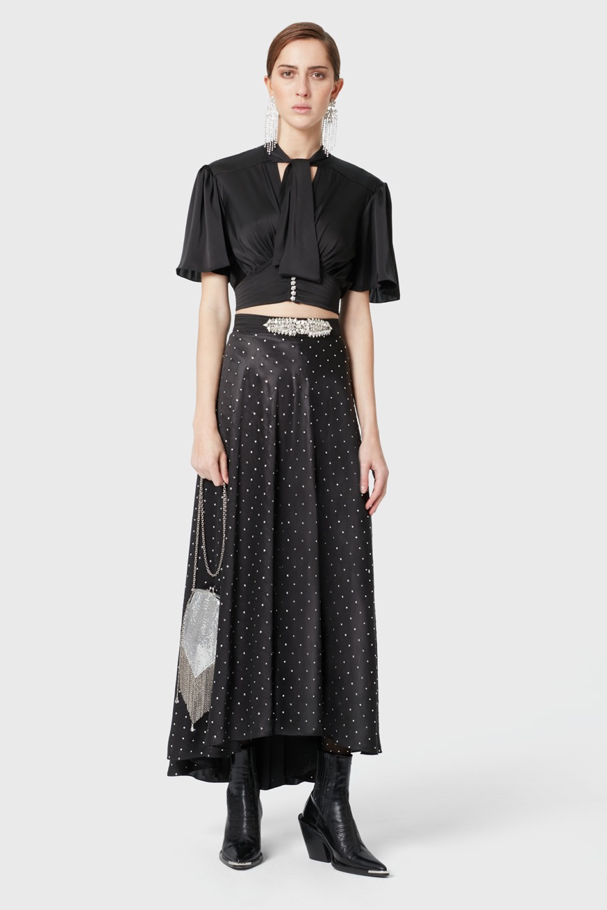 Long satin skirt decorated with strass - Long satin skirt decorated with strass - Paco Rabanne