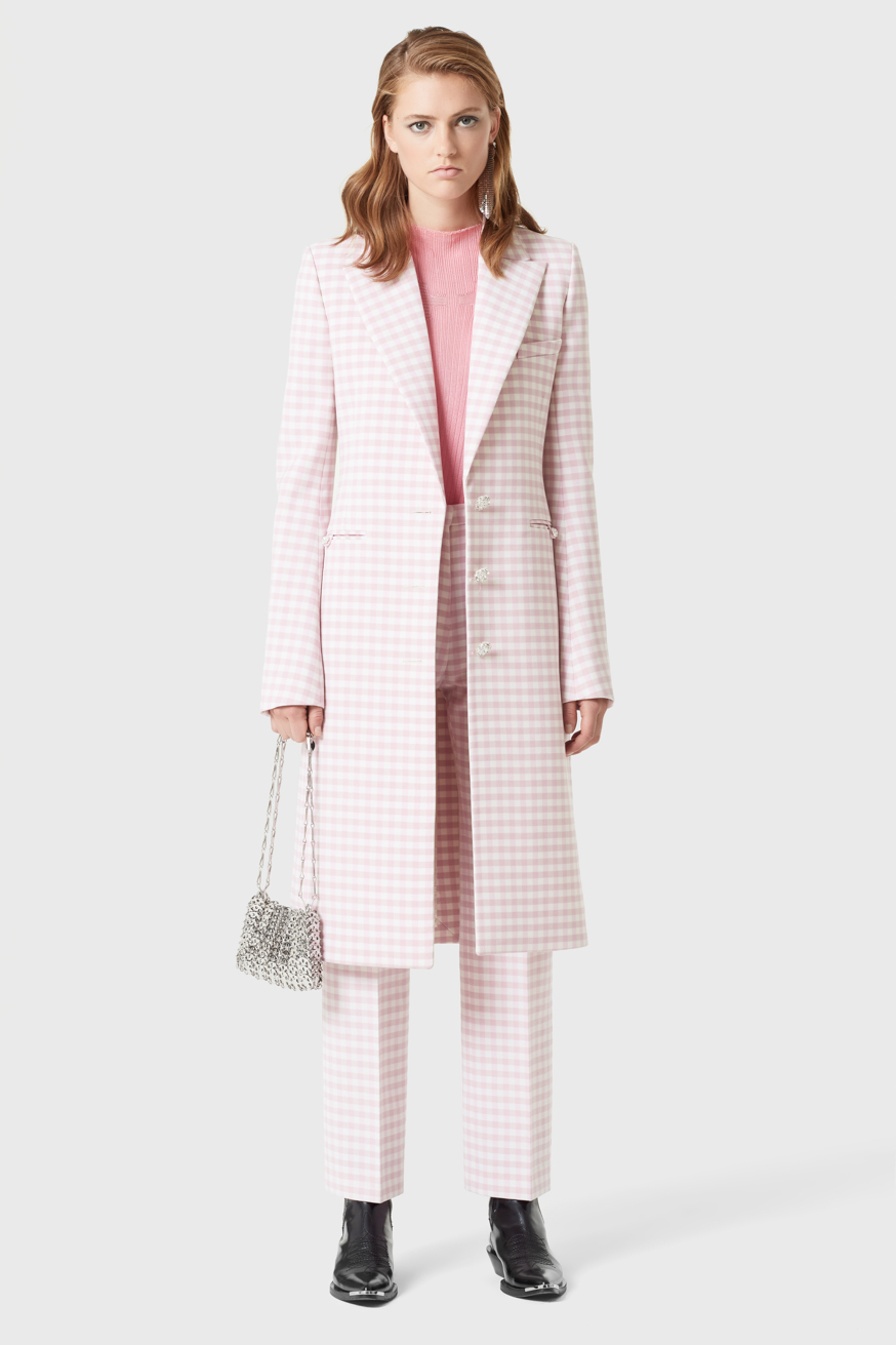 Tailored coat in pink gingham wool - Tailored coat in pink gingham wool - Paco Rabanne