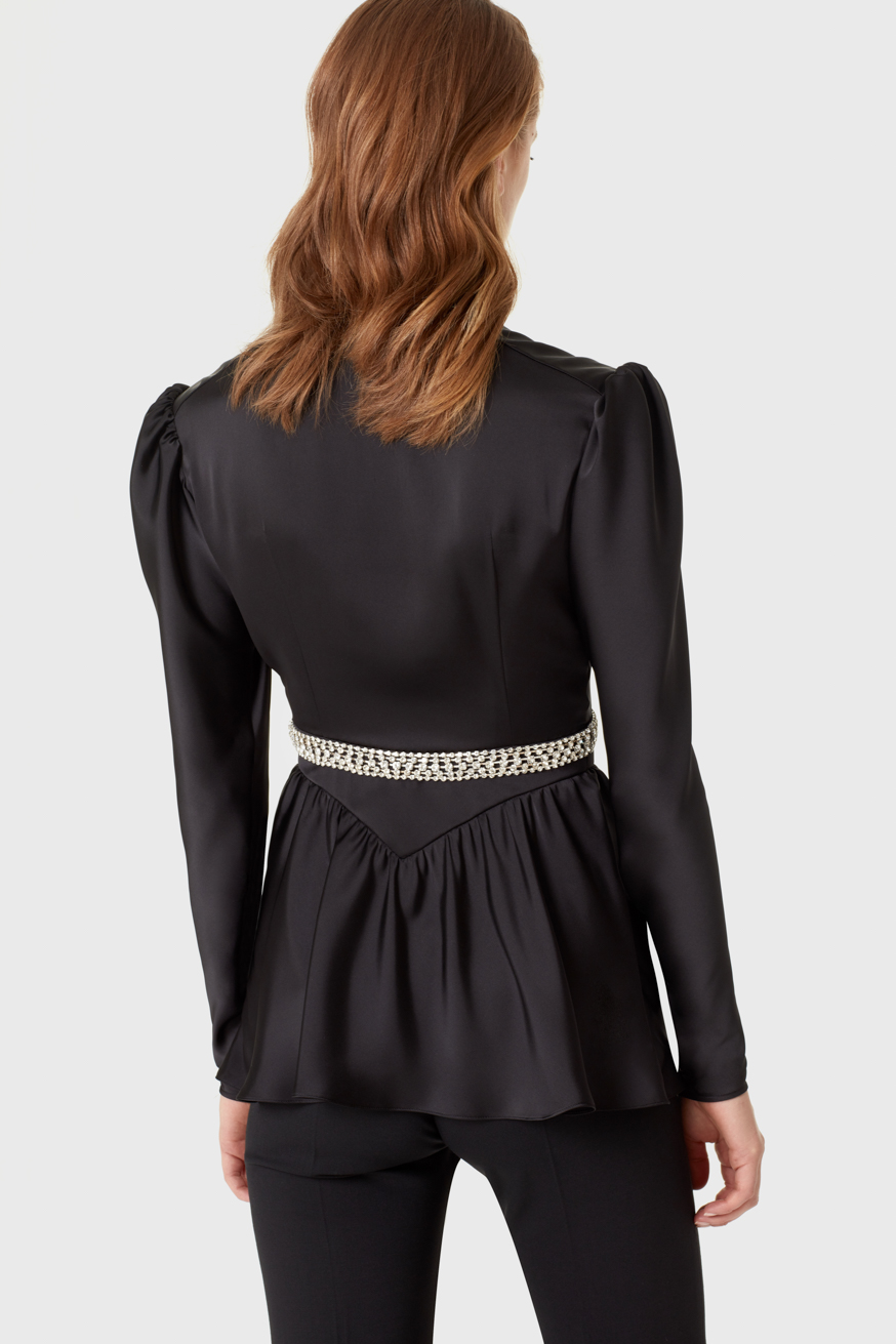 Long-sleeve satin top embellished with rhinestones - Long-sleeve satin top embellished with rhinestones - Paco Rabanne
