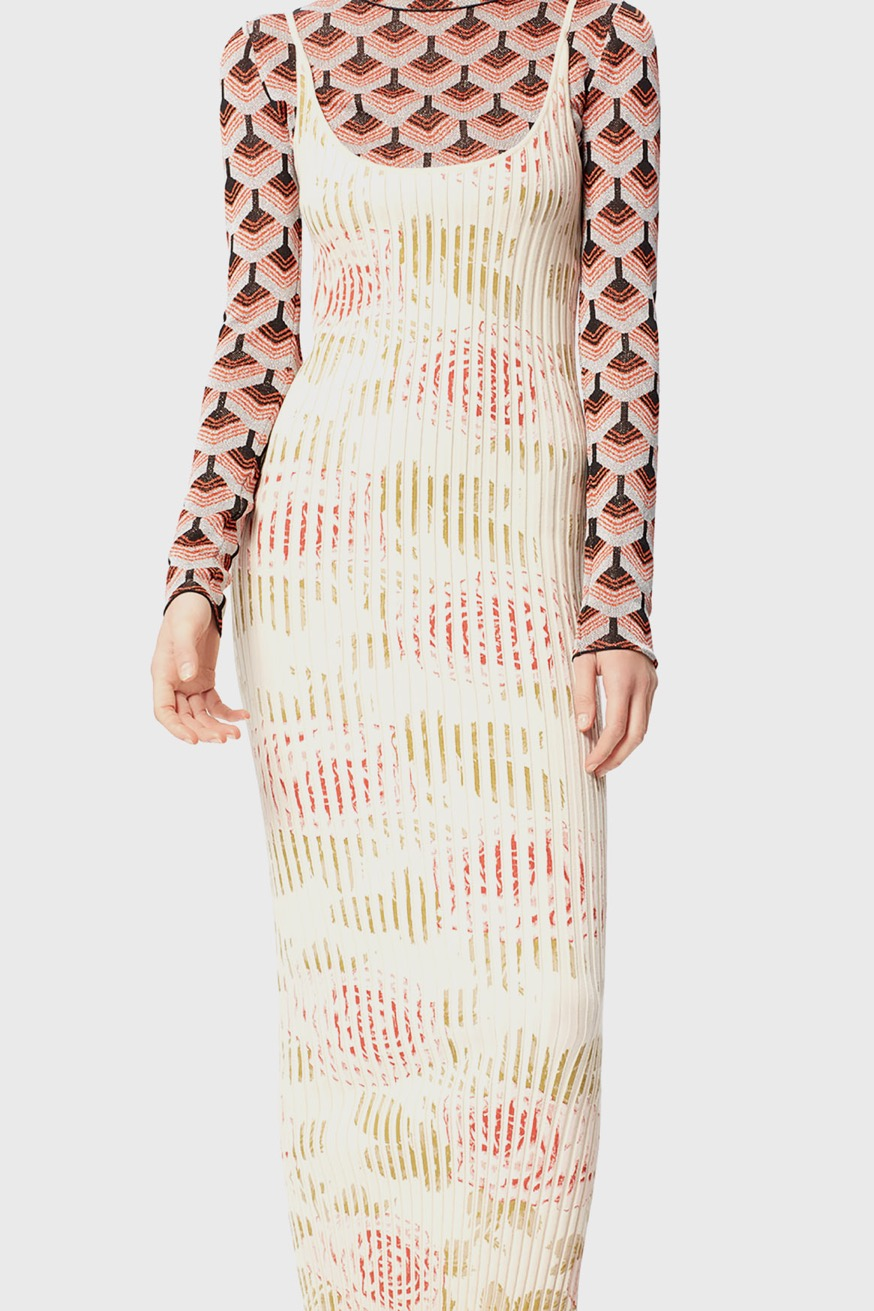 Fitted beige maxi dress, with printed ribs - Fitted beige maxi dress, with printed ribs - Paco Rabanne