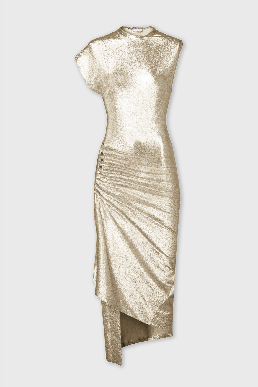 Fitted and draped dress in lurex jersey - Fitted and draped dress in lurex jersey - Paco Rabanne