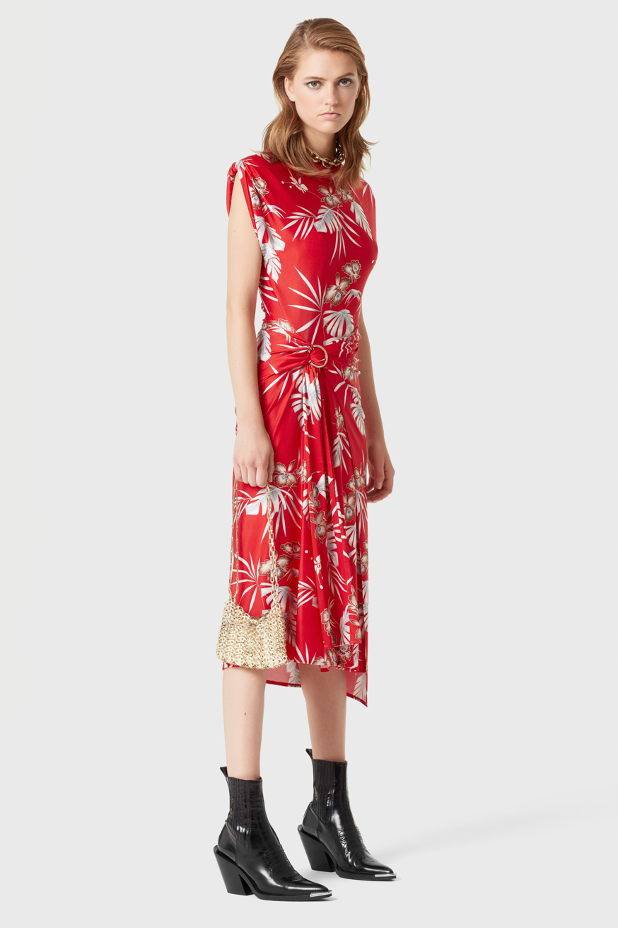 Robe mi-longue rouge en jersey imprimé - Red mid-length dress in printed jersey - Paco Rabanne