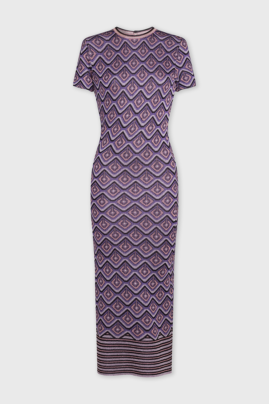 Long fitted dress in printed lurex - Long fitted dress in printed lurex - Paco Rabanne