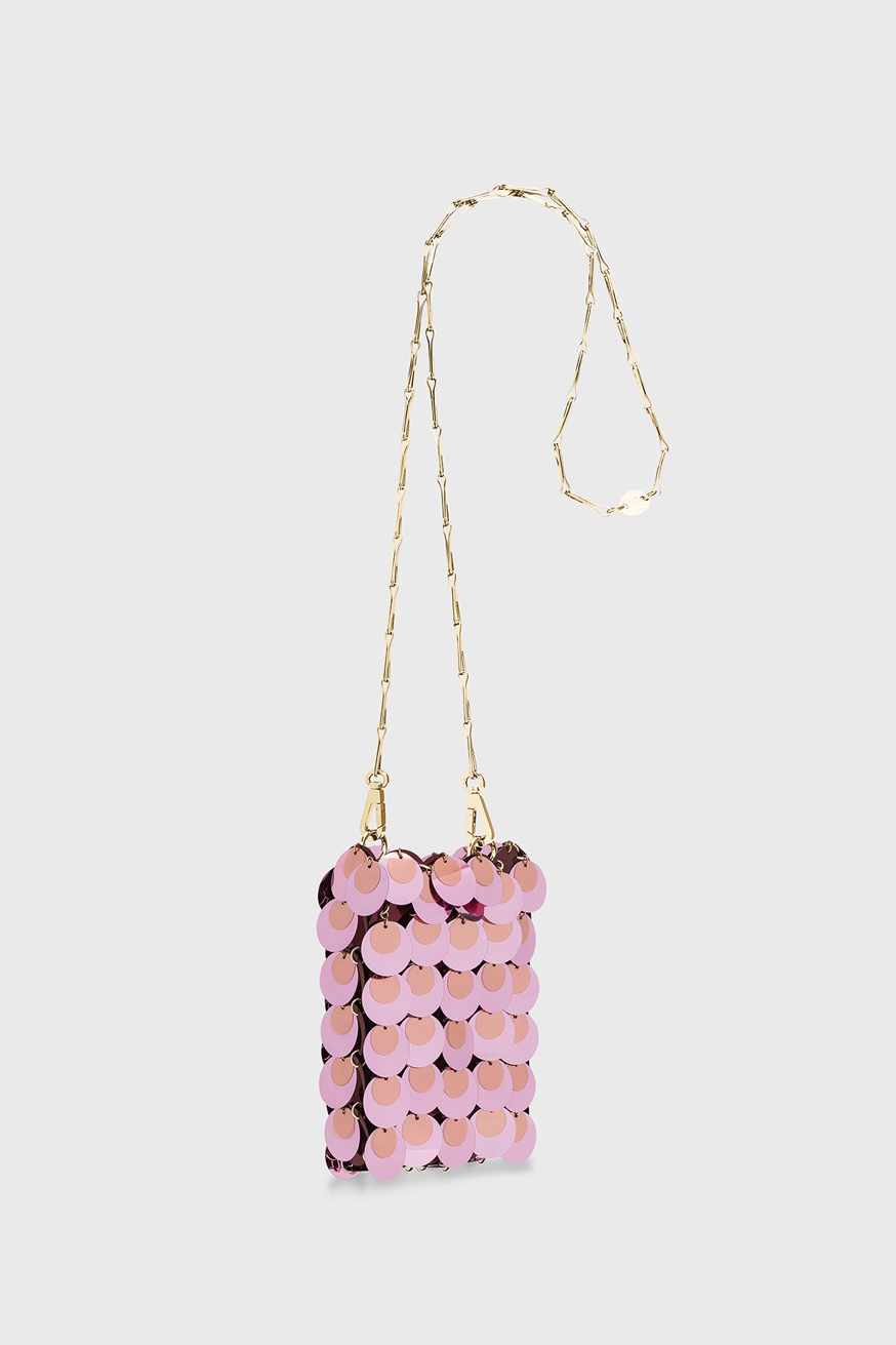 Iconic 1969 mini sparkle bag in pink - Iconic 1969 mini sparkle bag in pink - Paco Rabanne