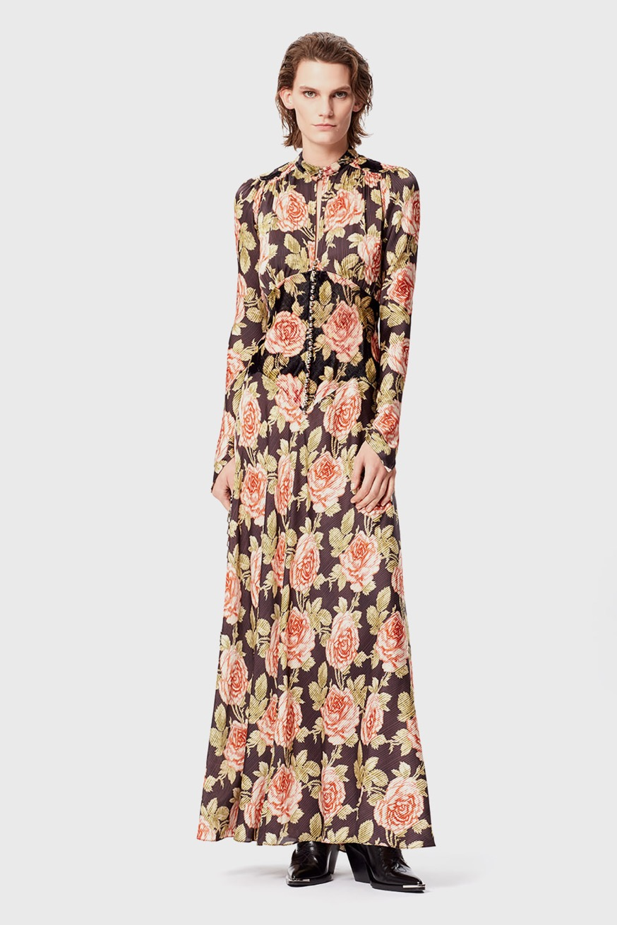 Long dress in printed satin - Long dress in printed satin - Paco Rabanne