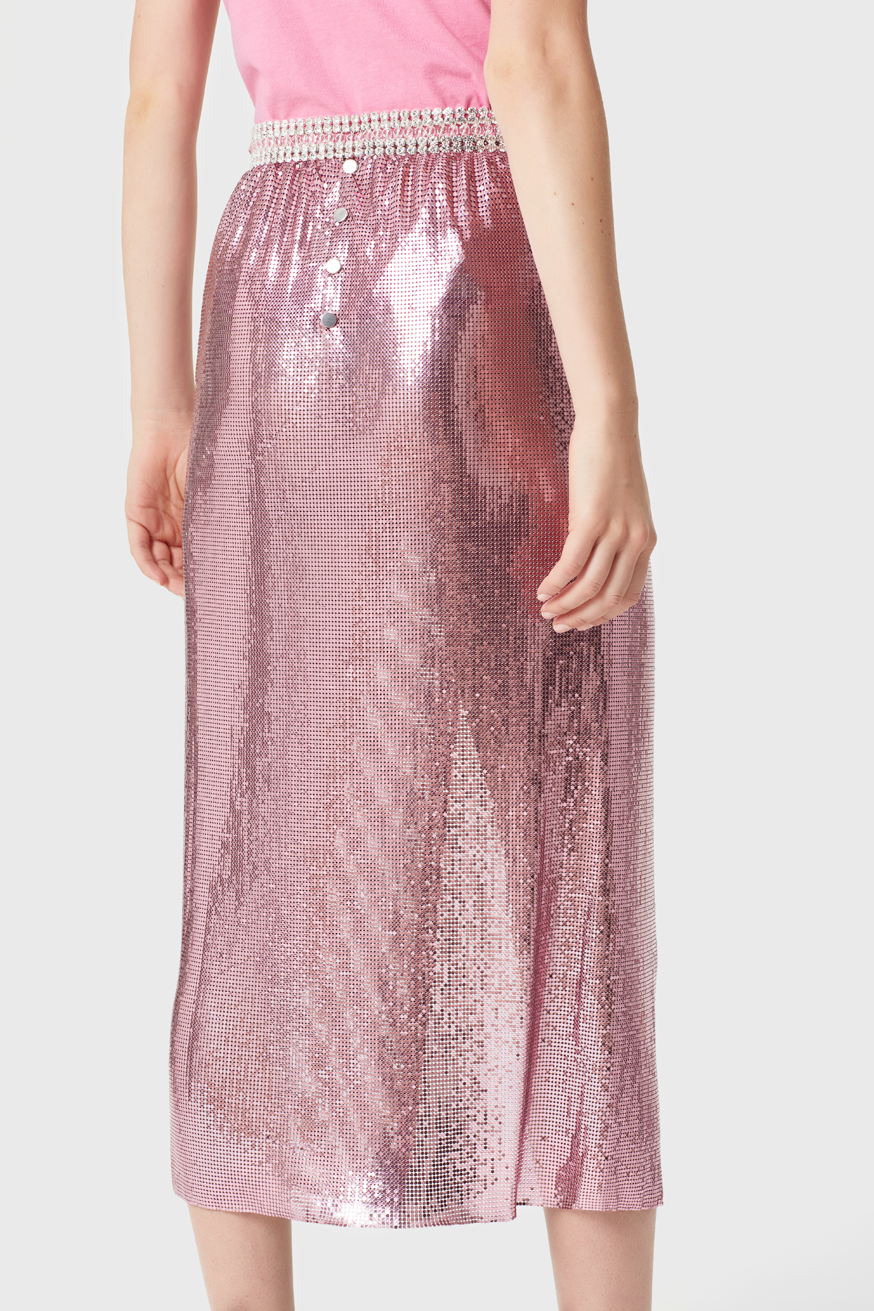 Mid-length skirt in pink micromesh - Mid-length skirt in pink micromesh - Paco Rabanne