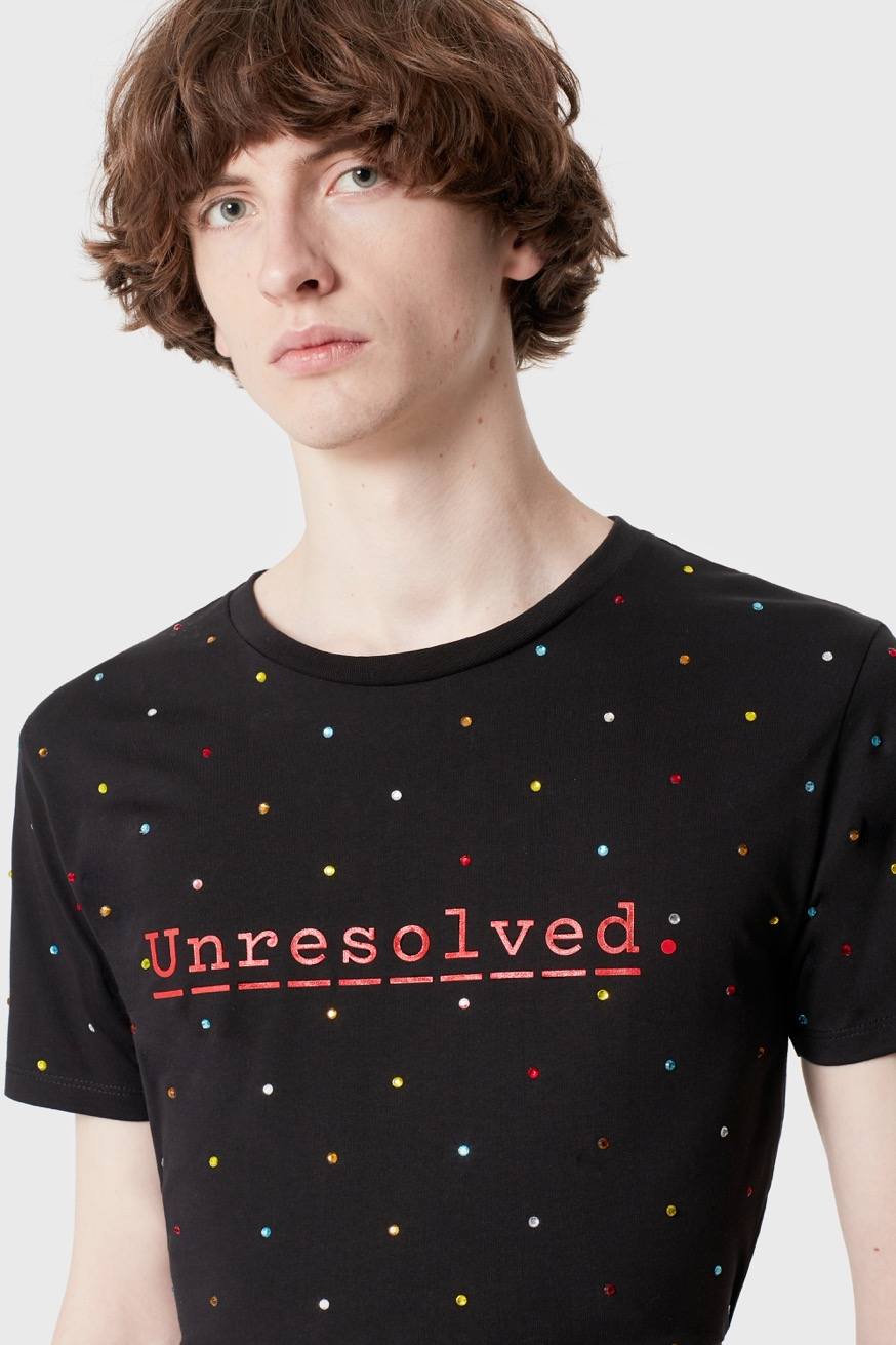 "Tshirt with ""Unresolved"" message - Tshirt with ""Unresolved"" message - Paco Rabanne"