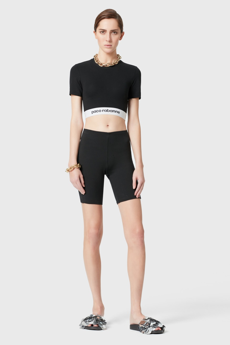 Leggings corti neri in jersey Bodyline. - Leggings corti neri in jersey Bodyline. - Paco Rabanne