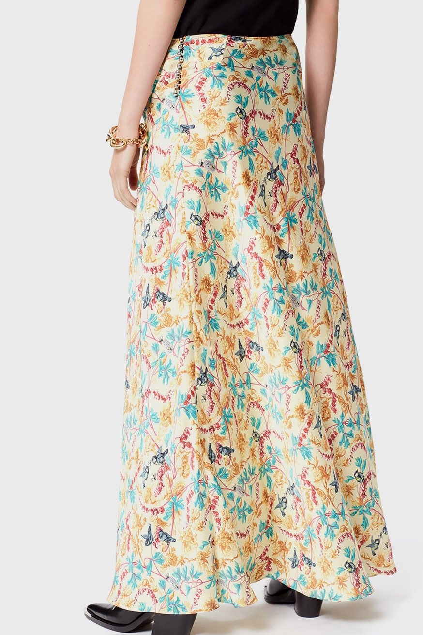 Maxi skirt in satin with bird and flower print - Maxi skirt in satin with bird and flower print - Paco Rabanne