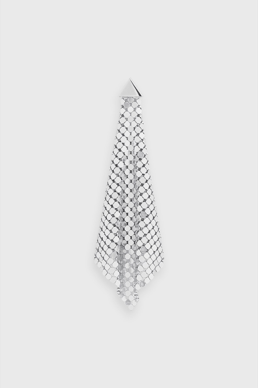 Flexible silver mesh diamond earrings - Flexible silver mesh diamond earrings - Paco Rabanne