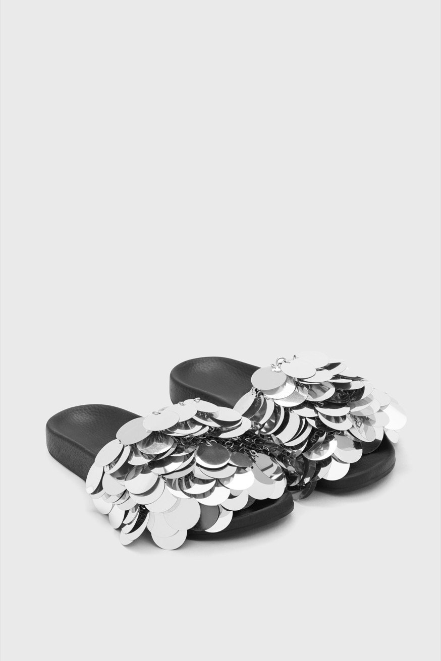 Sparkle pool sandals with round silver decorations - Sparkle pool sandals with round silver decorations - Paco Rabanne