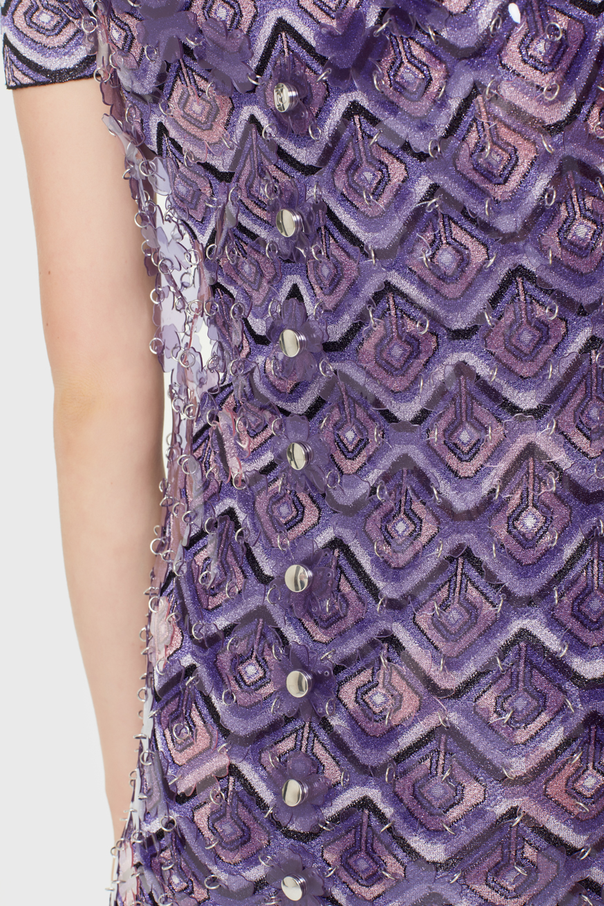 Purple mini dress made from flower-shaped pieces - Purple mini dress made from flower-shaped pieces - Paco Rabanne