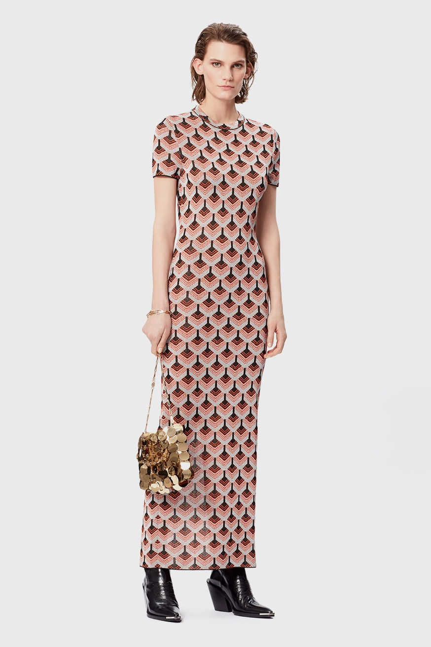 Long, fitted dress in printed lurex - Long, fitted dress in printed lurex - Paco Rabanne