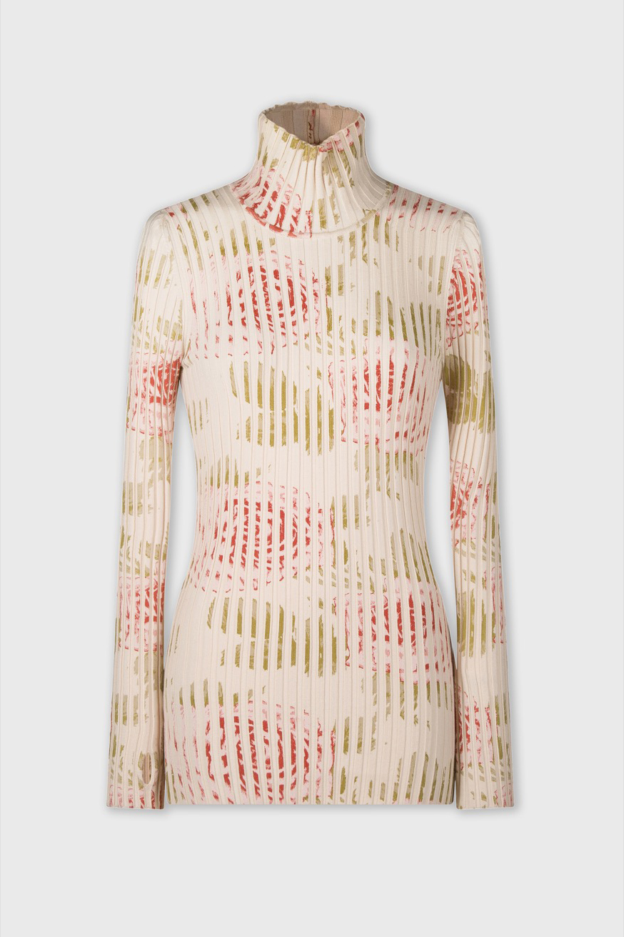 Turtleneck sweater with floral print - Turtleneck sweater with floral print - Paco Rabanne