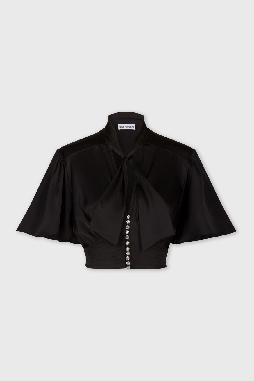 Crop top in black satin - Crop top in black satin - Paco Rabanne