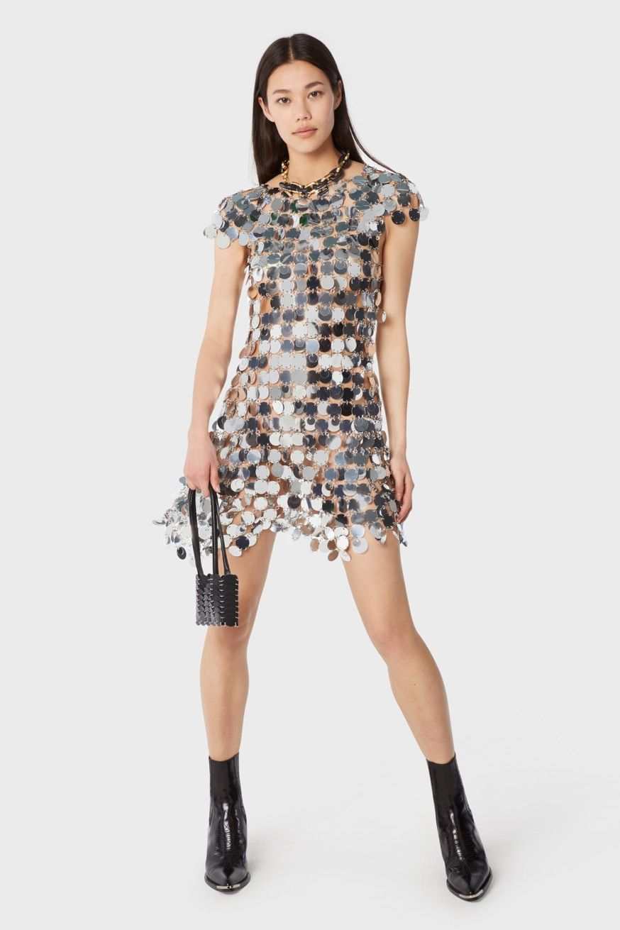 Mini dress made with round mirror-effect plates - Mini dress made with round mirror-effect plates - Paco Rabanne