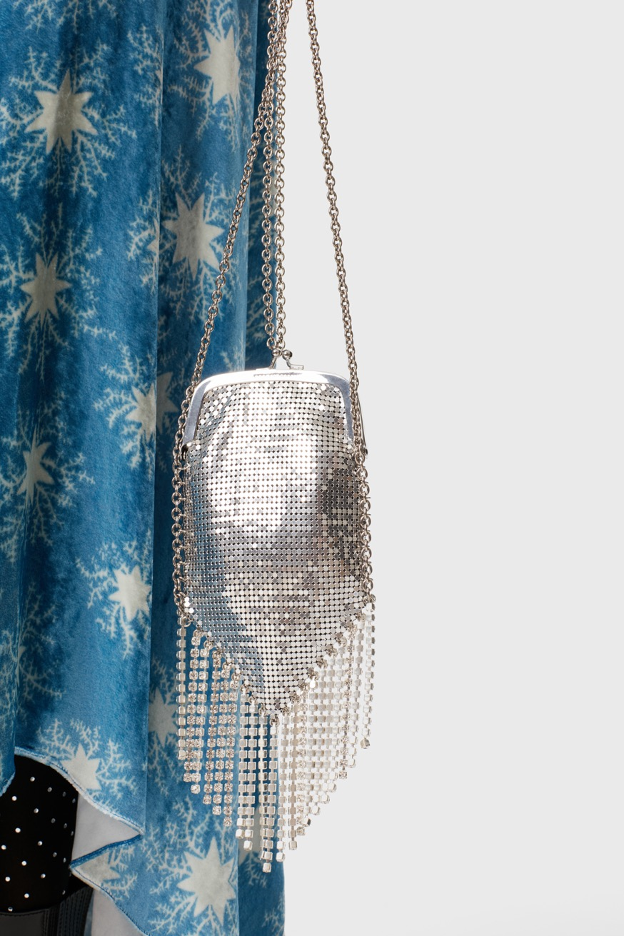 Minaudiere bag with silver pampilles and strass - Minaudiere bag with silver pampilles and strass - Paco Rabanne